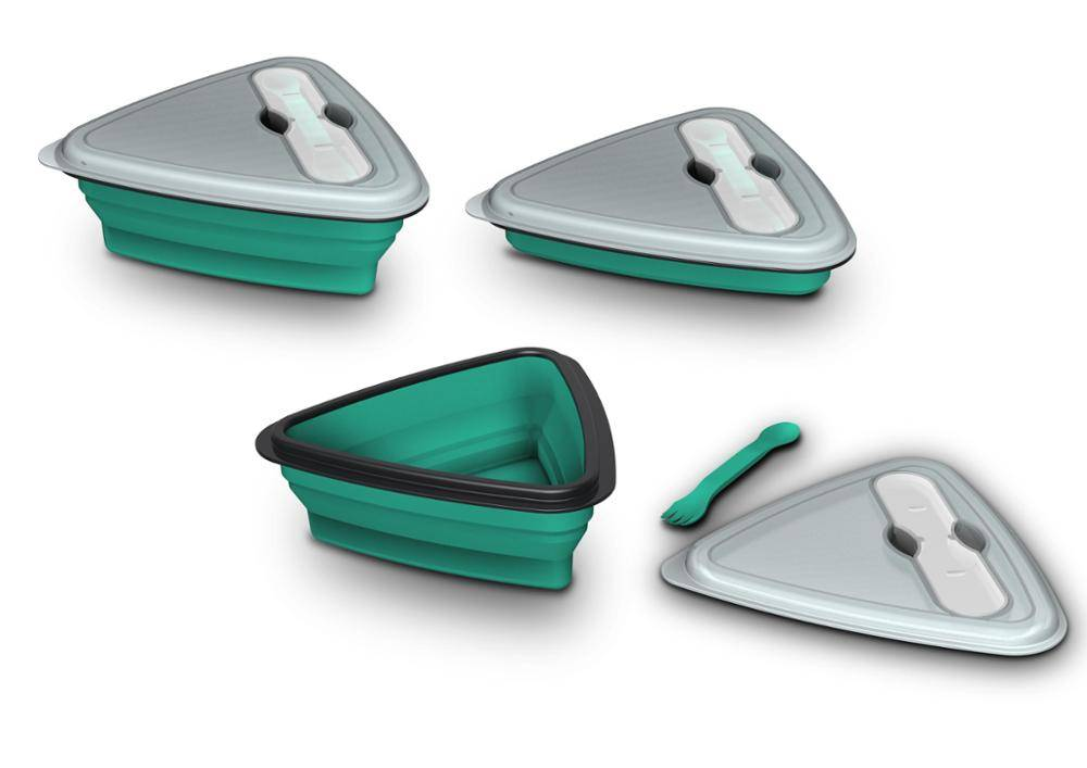 Silicone Collapsible Lunch Box With Fork Environmental Temperature Convenient Lunch Box