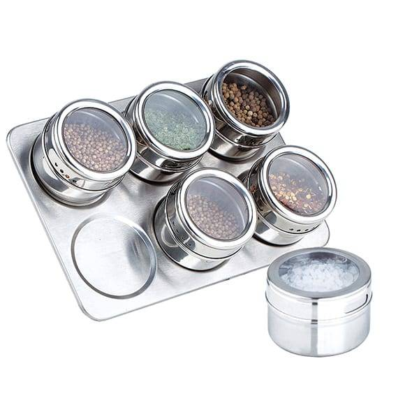 6pc Spice Jar Set With Stand Magnetic Stainless Steel Salt And Pepper Triangle Bamboo Spice Rack Set