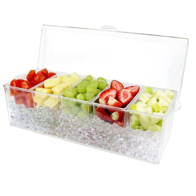4 Compartments Transparent Plastic Chilled Condiment Server Container Food Container Featured Image