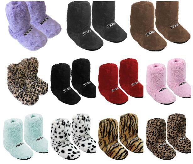 Super soft fleece plush thermo socks microwave hot socks slippers