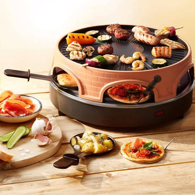 New Round Tabletop Multifunctional Terracotta Electric BBQ Pizza Oven For Grill