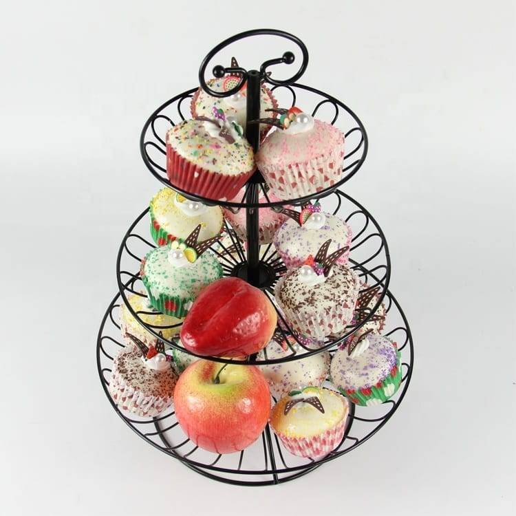 3 Tier Metal Wire Collapsible Fancy Wedding Cupcake Standing Display Cake Stand