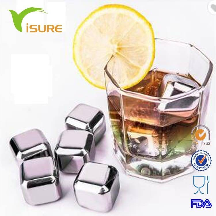 Amazon Top Seller Food Grade Stainless Steel Whiskey Stones Cooling Wine Ice Cubes