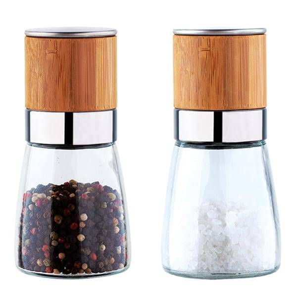 LFGB Certificated bamboo wood glass salt and pepper mill