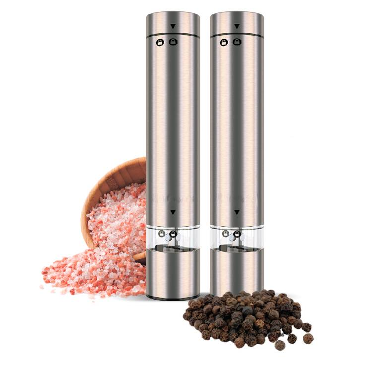 High Quality New One Hand Stainless Steel Electric Spice Salt and Pepper Grinder Set Ceramic