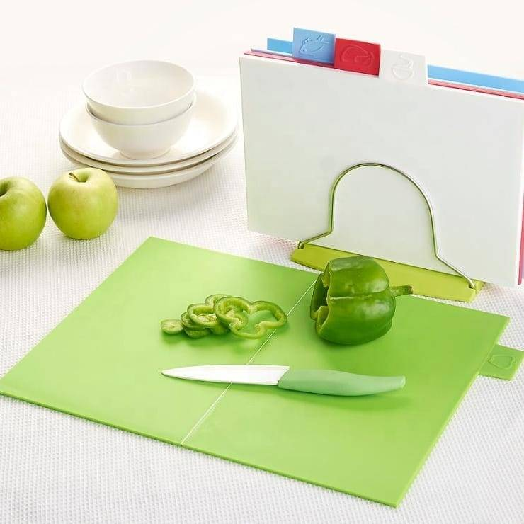 4pcs Colorful Rectangle Foldable Prerje Bordit Kuzhina Mirë Helper të perimeve dhe frutave Mini prerja bordit