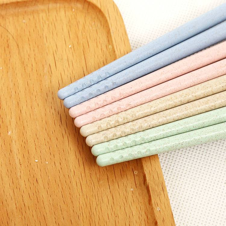 4 Color Wheat Straw Chopsticks 4 Pairs Concave Head Strong Ultra Lightweight Anti-skip Chopsticks