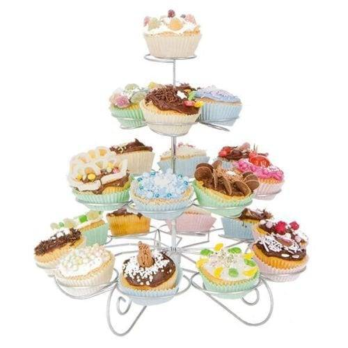 New 4 tier Iron Steel Cupcake Stand with 20 pcs for wedding and party