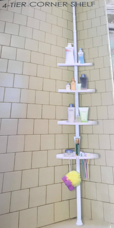 4-Tier Bathroom Bathtub and Shower Tension Magic Plastic Corner Shelf Caddy