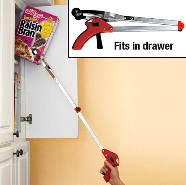 Foldable Reacher Extra Arm Fetch Tool Aluminum Material Pick Up Tool For Elder
