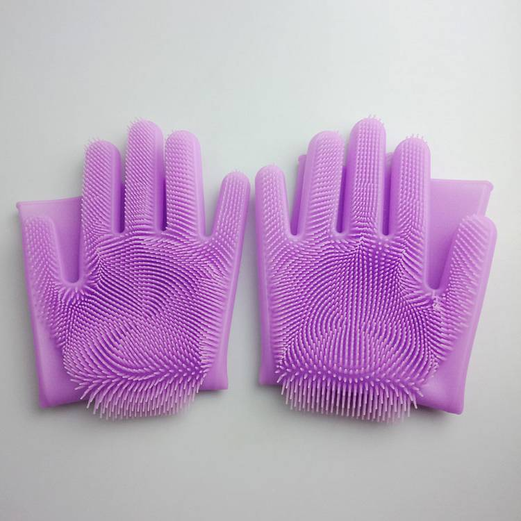 2018 Amazon New Products Dishwashing rubber Silicone Cleaning Brush Scrubber Gloves Silicone Cleaning Brush Scrubber Gloves