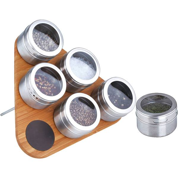 Magnetic 6pc Stainless Steel Spice Jar Set With Wood Stand