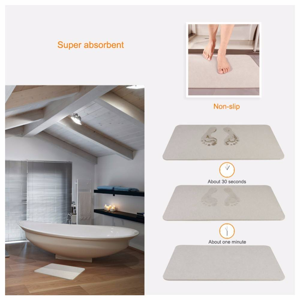 New Tide Eco-friendly Anti Slip Diatomite Instant Drying Diatomaceous Earth Bath Mat