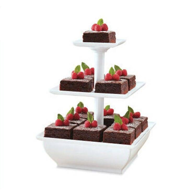 3 tiers clear square shape acrylic dessert display rack acrylic cupcake display stand Featured Image