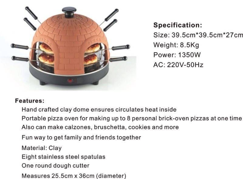 Countertop Terracotta Electric pizza oven 8 person pizza maker Automatic