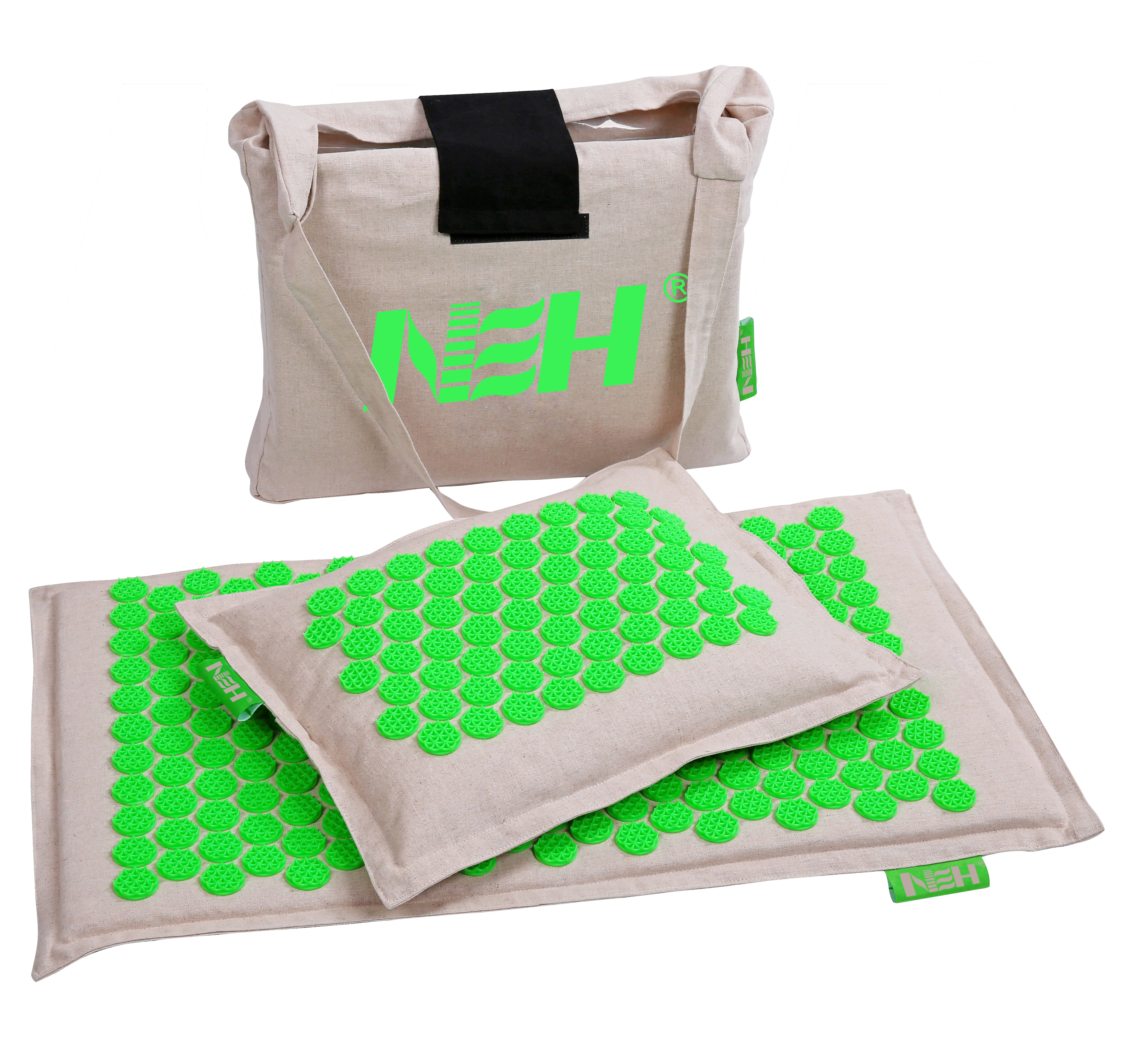 Top Quality Eco Acupressure Massage Mat Natural Organic Linen Cotton for Back and Neck,Acupuncture Mat And Pillow Set with Linen Carry Bag