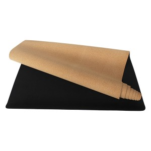 Eco Friendly Natural Rubber Cork Yoga Mat with Non Slip Suede fabric, Premium Exercise Fitness Mat for All Types of Yoga