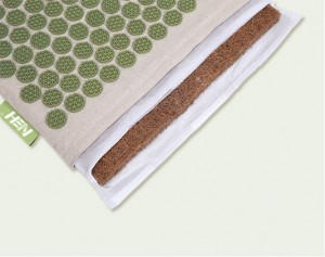 Eco linen fabric yoga massager acupressure mat pillow natural jute filler acupressure massage lotus mat linen