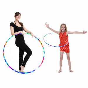 LED Hula Hoop Fully Rechargeable and Collapsable – 14 Color Strobing and Changing LED Lights – Multiple Light Up Hoola Hoops for Adults and Kids