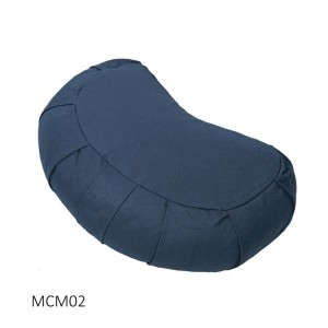 Crescent Meditation Cushion filled with Buckwheat Hulls with pleated sides and Carry handle