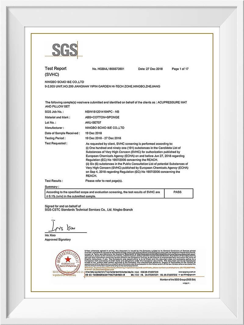 Acupressure set Reach Testing report by SGS