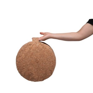 Round Cork fabric Meditation Pillow Bolster Filled with Granulated cork with Carry Handle