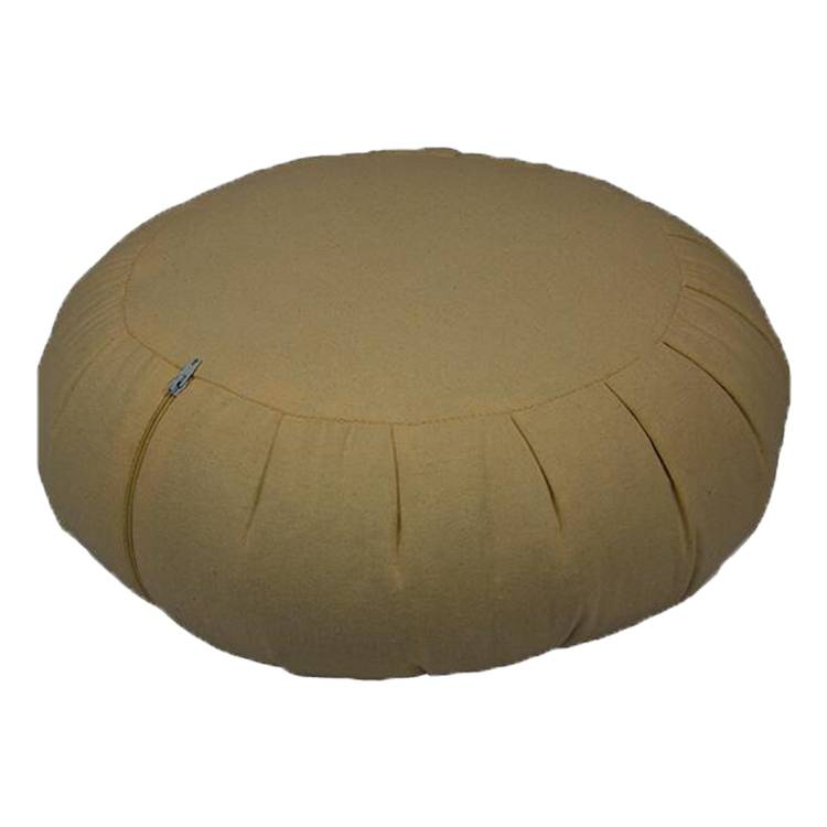 Round Meditation Pillow Filled with Buckwheat hulls with pleated sides