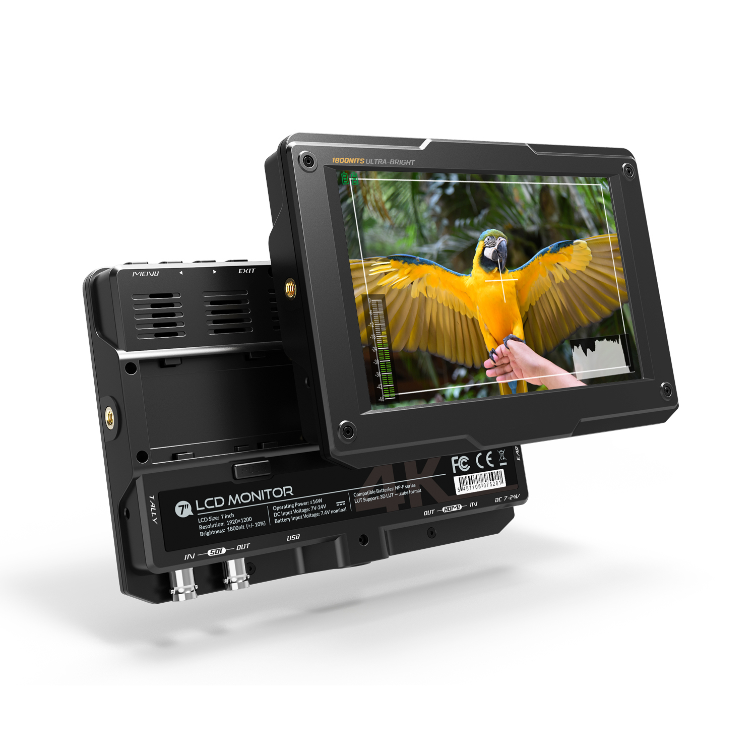 7 inch 1800cd/m2 High Brightness 4K HDMI 3G SDI Camera Monitor