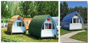Reliable Supplier AH-SZ001 steel frame arched camping pod ready made prefab houses