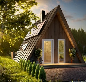 Customized Steel Structure A Frame House, Log Cabin,Camping Pod