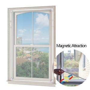Adjustable Magnetic Window Screen fit Windows Up to 55″x50″ Removable&Washable with Easy DIY Installation