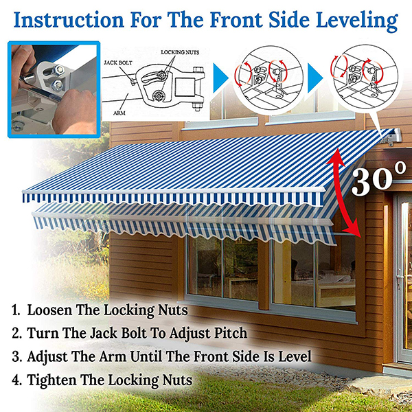 Retractable Patio Awning Multi Color Traditional Rectangular Polyester Uv Protected Featured Image