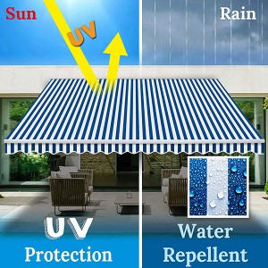 Retractable Patio Awning Multi Color Traditional Rectangular Polyester Uv Protected