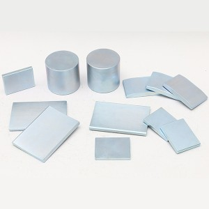 Magnets with blue-white zinc coating