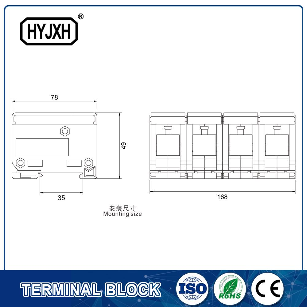 FJ6-JTS2EB Three Phase four Wire DIN rail type connection terminal  max inlet wire : 120,150 mm sq