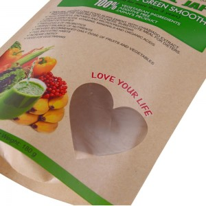 Creative biodegradable stand up packaging bags with transparent window for nut