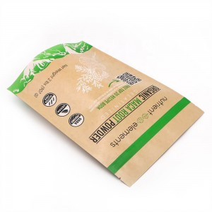 ECO friendly stand up packaging kraft paper packaging bags with easy zipper