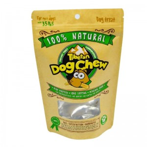 Creative design yellow kraft paper and PLA packaging bags for dog foods