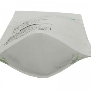 White kraft paper and PLA dried food packaging bags with easy zipper