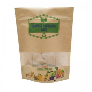 ECO friendly stand up packaging kraft paper bags with window and zipper