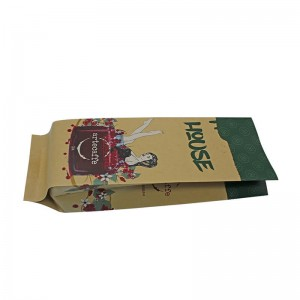 Recycle craft paper health food packaging bag with biodegradable air valve