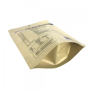 Creative brown kraft paper and PLA dried food packaging bags with easy zipper