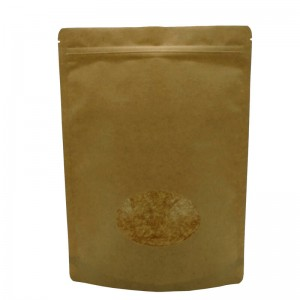PLA and yellow kraft paper stand up packaging bags with transparent window