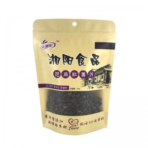 Craft paper stand up nut packaging bags with round handing hole