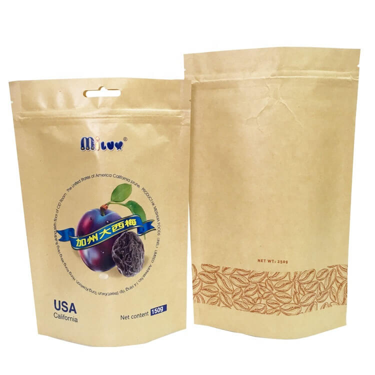 PLA and kraft paper stand up dried food packaging bags with easy zipper Featured Image