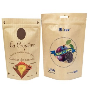 PLA and kraft paper stand up dried food packaging bags with easy zipper