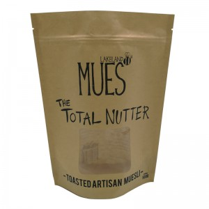 Personalized stand up yellow Kraft paper and PLA packaging bags for nuts