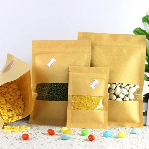 Custom 3 side sealed kraft paper packaging bags for food
