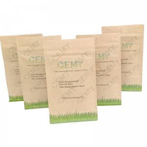 OEMY Custom 8 side sealed square bottom compostable coffee bags with biodegradable air valve and zipper
