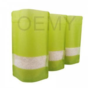 Fully green color printing cloud dragon paper stand up pouches with transparent window